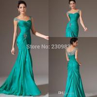2015 Best Selling V-neck Floor Length Turquoise Chiffon Cap Sleeve Prom Dresses Beaded Pleats Discount Evening Dresses