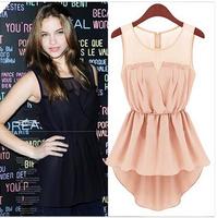2014 women clothing summer new Fashion Slim sleeveless Lace Dress dovetail casual chiffon dress