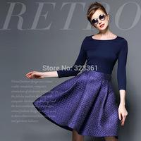 New!!! Luxury Autumn Winter High Quality Fashion Dress Relief Printing Big Fluffy Pendulum Show Thin Dress