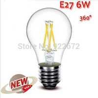 50PCS/LOT  High Power E27 4W 6W 8W 4LED Chips LED Bulb Light Lamps Glass Globe Lamp Edison Filament bulb Warm White 110V-240V