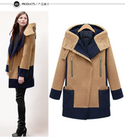 2014Winter Turn Down Coat with Hood Unique Celebrities Coat Five Size for Chioce