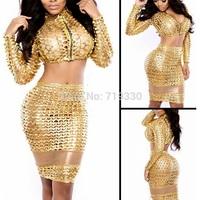 European Style Fashion Women Bodycon Sexy & Nightclub Dresses Ladies Hollow Hole Reflective Dress Vestidos Free Shipping