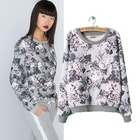 Paid cotton Europe grey bubble cotton print long-sleeved thick sweater Novelty Women Tops shirt pullover