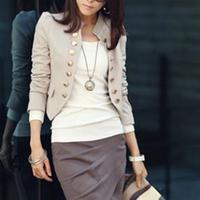 Korean Women Ladies Wear To Work Long Sleeve Button Slim Peplum Cropped Blazer Casual Jacket Cardigan Coat