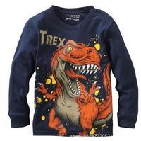 Hitz Long-sleeved Children Bottoming Shirt : Children's Clothing Cartoon Dinosaur Cotton T-shirt Boys Bottoming Shirt