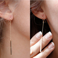 Promotion! Wholesale! Fashion lady women jewelry brief simple all-match geometric metal strip alloy drop earrings ER539