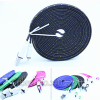 3M 10FT Noodle Woven Fabric Braided Micro USB2.0 Charging Cable Cord for Samsung Galaxy S4 S3 Note4 for HTC LG Sony Lenovo