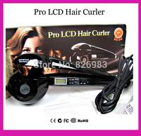 Free Drop Shipping,2014 Eu Plug Pro Perfect,LCD Automatic Curls Professional Curler Hair Styler Conair Pro Nano Titanium