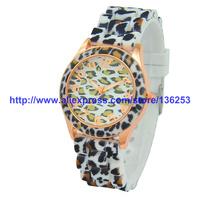 2014 Geneva Leopard Watch Fashion Unisex Silicone Jelly Rubber Wrist Watches Quartz Analog Watch Drop shipping 30pcs/lot 5Colors