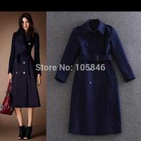 2014 New Arrival Winter Disigner Luxury Brand Women Fashion British Style Dark Blue Oblique Pocket Slim Long Wool Trench Coat