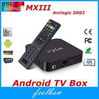 MXIII Amlogic S802 Android TV Box Smart TV Receiver IPTV Media Player 2.0GHz Quad Core Android 4.4.2 Octa Core GPU 4K 1G/8G XBMC