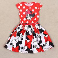 2014 Girls Costumes Children's Clothing Fashion Kids Dresses Red Summer Dress Minnie Character Print Little Girls Dresses