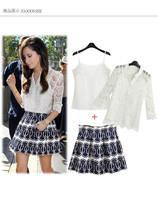 New 2014 Fashion 3 Piece Set Women Tops+Skirts Lace Chiffon Blouses Pleated Print High Waist Skirt Clothing Work Wear