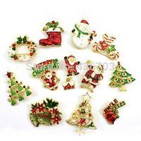 New Christmas Gift Decor Vintage Xmas Tree Santa Crutch Design Alloy Brooch Pin
