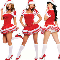Free shipping Sexy Christmas Women Santa Claus Costumes Satin Outfit Dress+Hat+Gloves Temptation Dress Lingerie Underwear