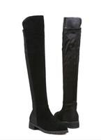 2014 winter new European flat knee boots suede womens boots zipper flat heels thigh high boots slip on fashion bota
