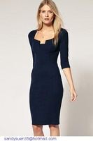 new bandage dress arrival Blue Pink Rosy Exquisite Solid Neckline Navy Midi Pencil Dresses LC6735