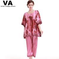Silk Pajamas sets Women Plus Sizes Half Sleeve Print Rayon Pajama Set 2015 Nation Summer Pajamas for indoor Clothing W00187