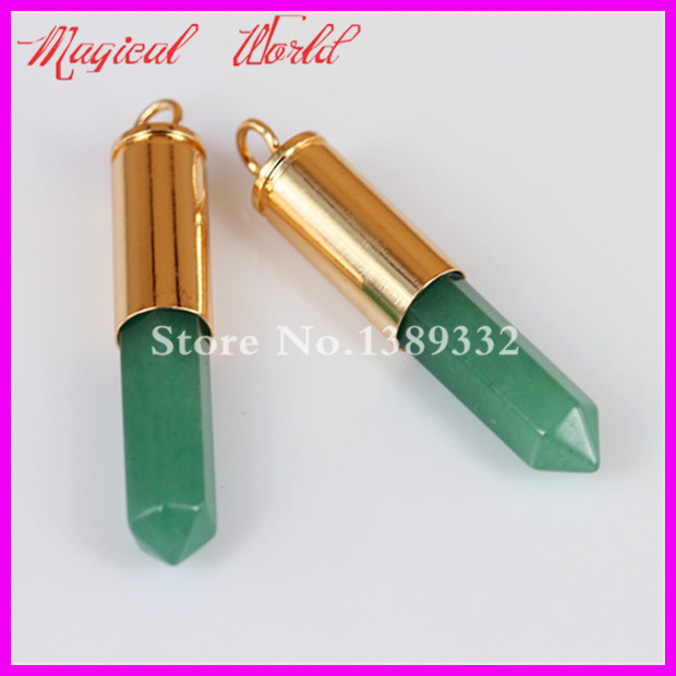 2Pc Nature Green Avenurine Gems Point Bullet Pendant Hexagon Quartz Druzy Agate Pendant Real Gold Plated Casing Pendant(China (Mainland))
