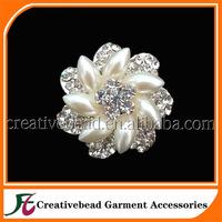 40mm sparkling silver crystal rhinestone pearl booch for wedding dress in free shipping