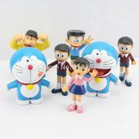 Free Shipping 7pcs/set Doraemon PVC Action Figure toy 8-10cm