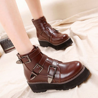 Free shipping  2015 new Fashion Winter muffin short boot thick high-heeled wild women Martin boots