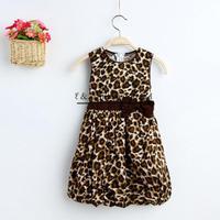 Hot Sale Girl Princess Dress Cotton With Bow Girl Flower Dress  Leopard Girls Tutu Dress GD41113-8^^EI