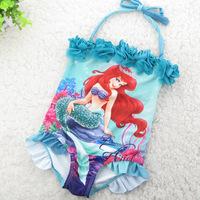 4-11 Years Children Baby Swimsuit/Kids One Piece Swimwear/Girls Swimming Clothes/Free Shipping Retail 1 pc/Little Mermaid Style