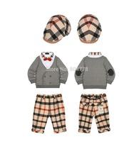 Wholesale 2015 new Boy cloth set Plaid Hat  Baby Cap+ Fake 2pcs Shirt Top+Children Check Pant Trousers 6sets/lot