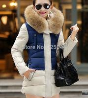2014 New Fashion Winter Women Down Cotton Long Fur Collar Hooded Coat Jacket Parka