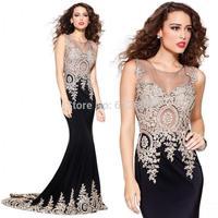 2014 New arrival Sexy dress Fashion vestido de festa Scoop Tank Lace Beading prom Mermaid evening dresses 2015