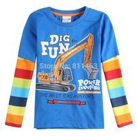 2014 new children long sleeve excavator print cotton T-shirt / kids spring autumn coat / boys tops