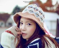 2013 Winter Fashion Korean Lovely Jacquard Patterns Millinery Hat Knit Wool Bucket Hats