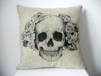 "New Cool Cotton Linen Square Throw Pillow Case Sofa Cushion Cover  pillowcase Shell  White Rose Skull 18"""