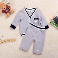 2014  New  Retail  Brand  fashion  spring/autumn  children's  set  blouse +pants long sleeve single  breasted  V-Neck  boy's set