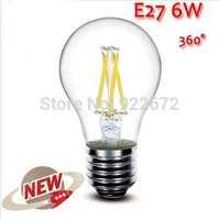 100PCS/LOT  High Power E27 4W 6W 8W 4LED Chips LED Bulb Light Lamps Glass Globe Lamp Edison Filament bulb Warm White 110V-240V