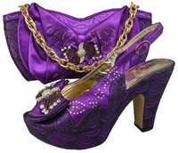 Design No.GF09-purple!wholesale African shoes and matching bags for party!most popular ladies shoes and bags with rhinestone!