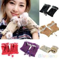 New Rabbit Fur Leather Lady Fingerless Suede Mittens Women Winter Wrist Gloves