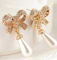 Korean Fashion Jewelry Butterfly Bow Knot Pearl Earrings For Women C30R11