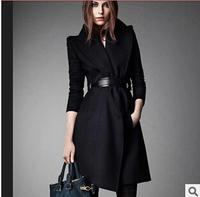 2015 European Style New Fashion Winter Wool Coat Women Slim long Wool blended Trench Coat Brand High Quality Casacos Femininos
