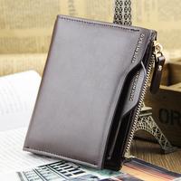 Genuine new wave of men's wallet vertical section wallet multifunction driver's license zipper wallet short paragraph Slim stude