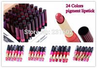 (24pcs/lot) Europe batom Matte moisturizing Deep purple red lipstick maquiagem Christmas gift brand TINT lip smacker wholesale