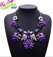 New Arrival Good Quality Luxury Statement Vintage Design ZA Crystal Gem Collar Purple New Color Necklace 9600