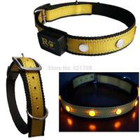 Electric LED Light Pet Collars Adjustable Nylon Big Dog Collar Pet Collars Lead ( Yellow Dog Collar )