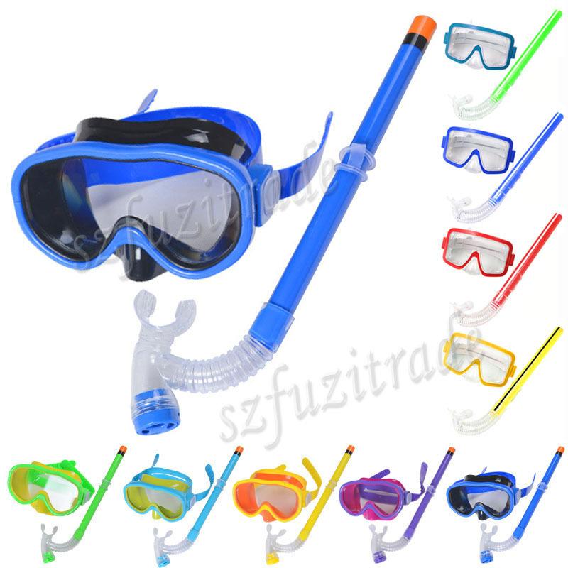 Promotion! Kids Swimming Mask Pool Diving Equipment Anti Fog Goggles Scuba Mask Snorkel Glasses Set Children Gift AHA00143(China (Mainland))