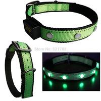 Large Nylon LED Dog Collar LED Pet Collar Led Collar for Big Dogs ( Light Green )