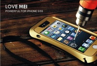For iPhone 5 5s LOVE MEI Case Small Waist Metal Waterproof Shcokproof Cover for iPhone 5c Case with Gorilla Glass DHL Free