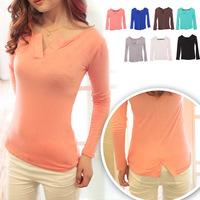 New arrival women long t-shirts v-neck cotton slim t-shirt fashion spring winter tops tee clothing long sleeve short shirts