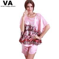 Silk Pajamas sets Women With Shorts Batwing O Neck Rayon Pajama Sets Plus Size Summer Women's Pajamas homewear sleepwear W00191