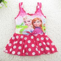 4-12 Years Frozen Children Baby Swimsuit/Kids One Piece Swimwear/Girls Swimming Clothes/Retail 1 pc/Princess Sophia/Queen